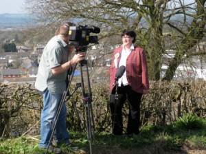with the BBC crew, Lockerbie in background